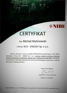 Certyfikat Nibe Malinowski