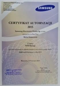 Certyfikat Samsung pompy ciepła