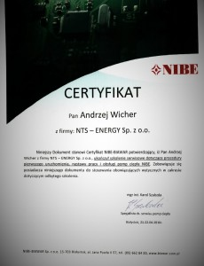 Certyfikat Nibe Wicher